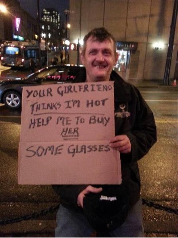 funny homeless guy signs
