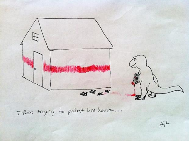 funny  t-rex trying to paint
