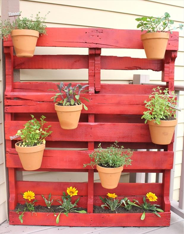hang plants from old pallets