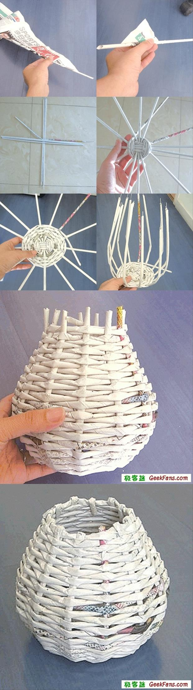how to make a basket from newspapers fun crafts