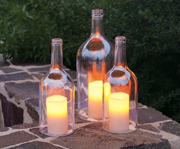 how to make wine bottle candle holders