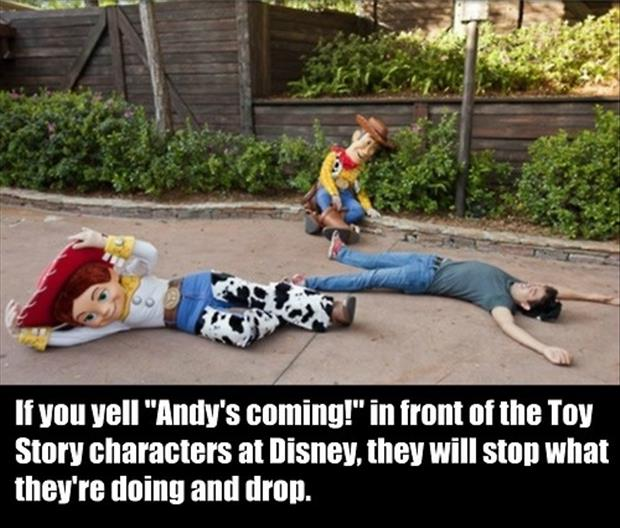 if you yell andy's coming in disney land
