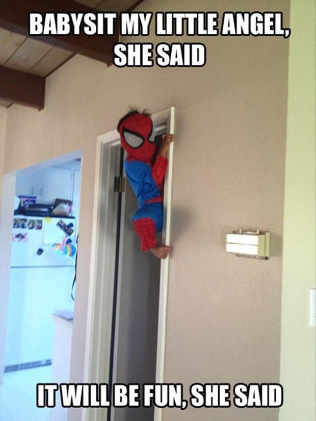 kid dresses up as spiderman and climbs the walls