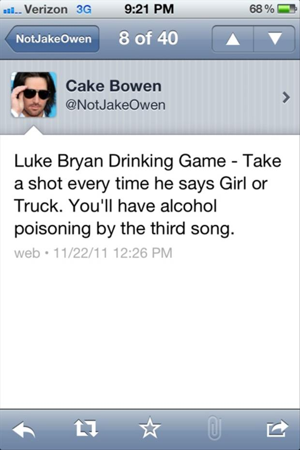 luke bryan drinking game