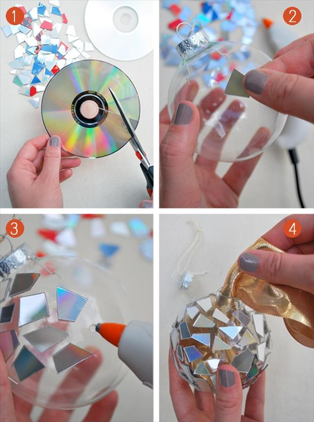 make your own christmas orniments from broken cds