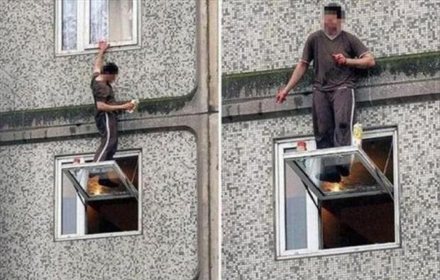 man standing on a ledge funny pictures