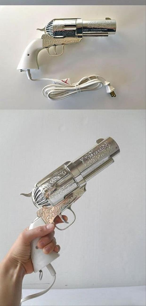 pistol shaped hair dryer shut up and take my money
