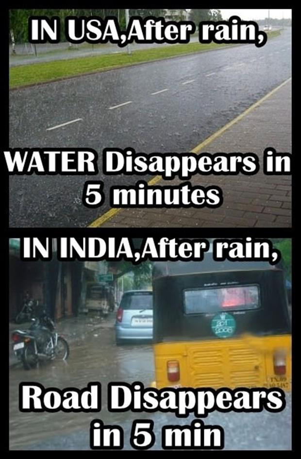 rain in usa and in india