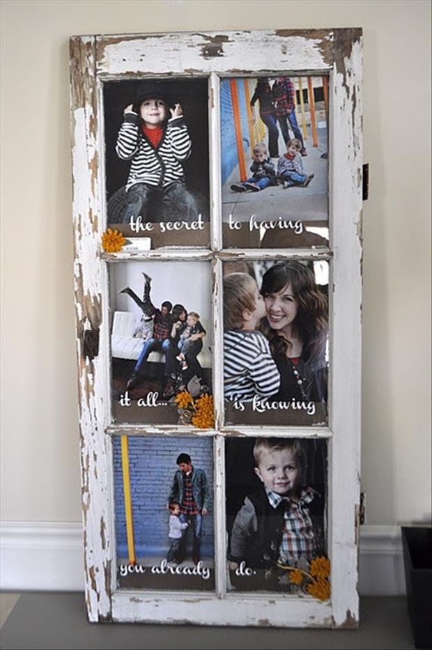 reuse an old window for a picture frame