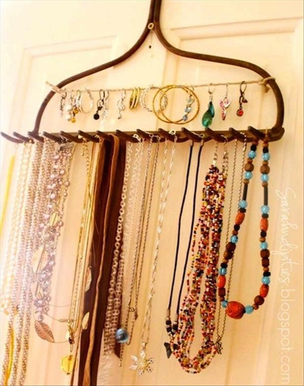 reuse old rake for necklace hanger