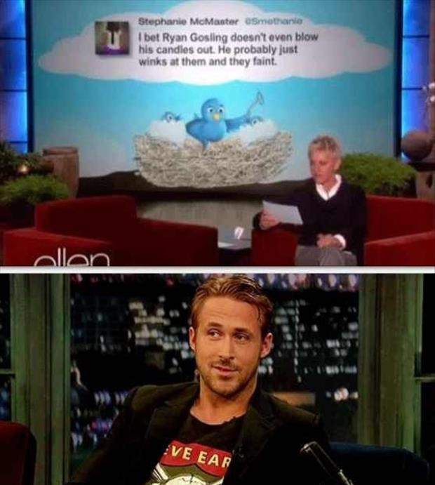 ryan gosling twitter quotes on ellen degeneres