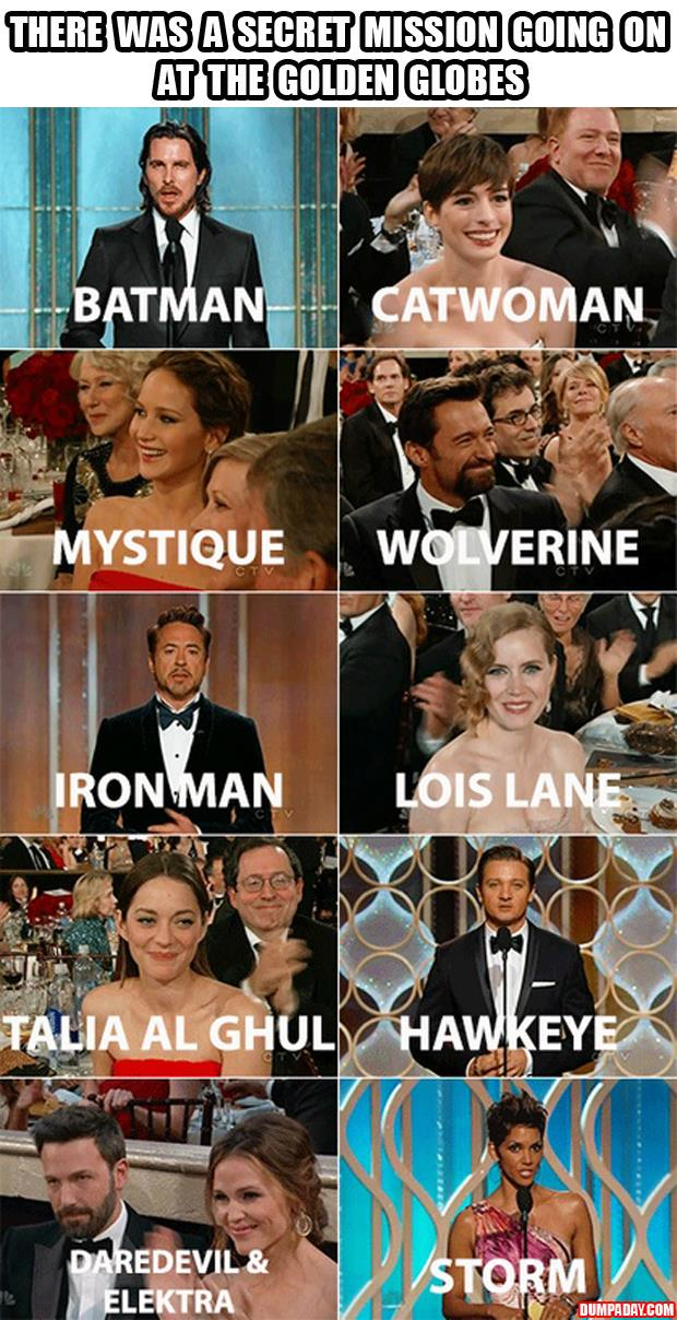 secret mission at the golden globes super heros