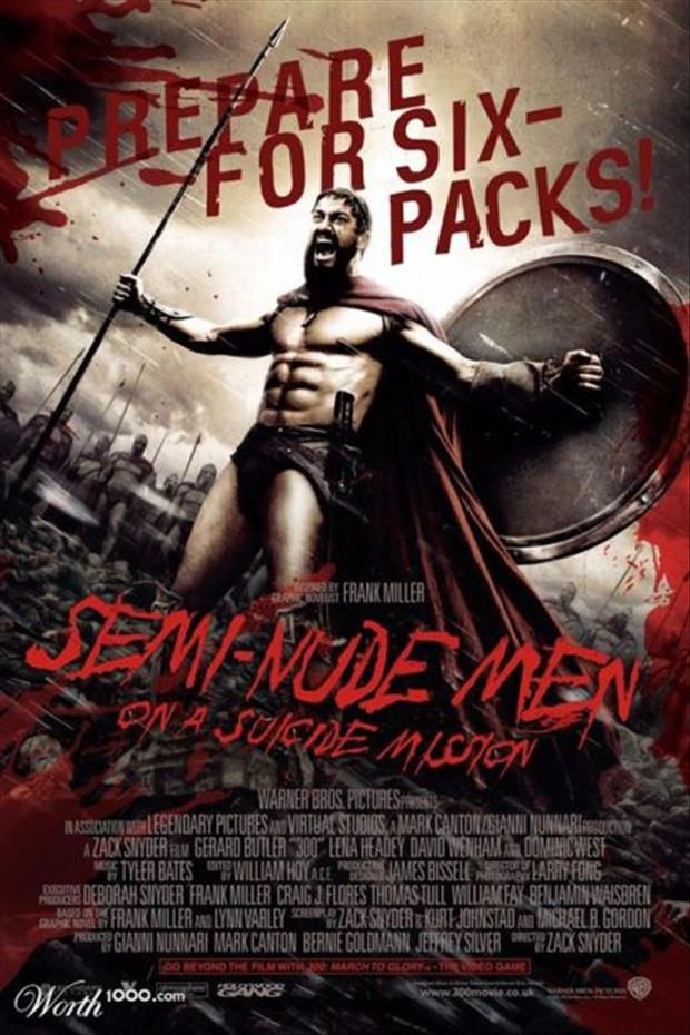 six pack of abs funny movie posters