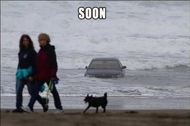 soon, car in the water