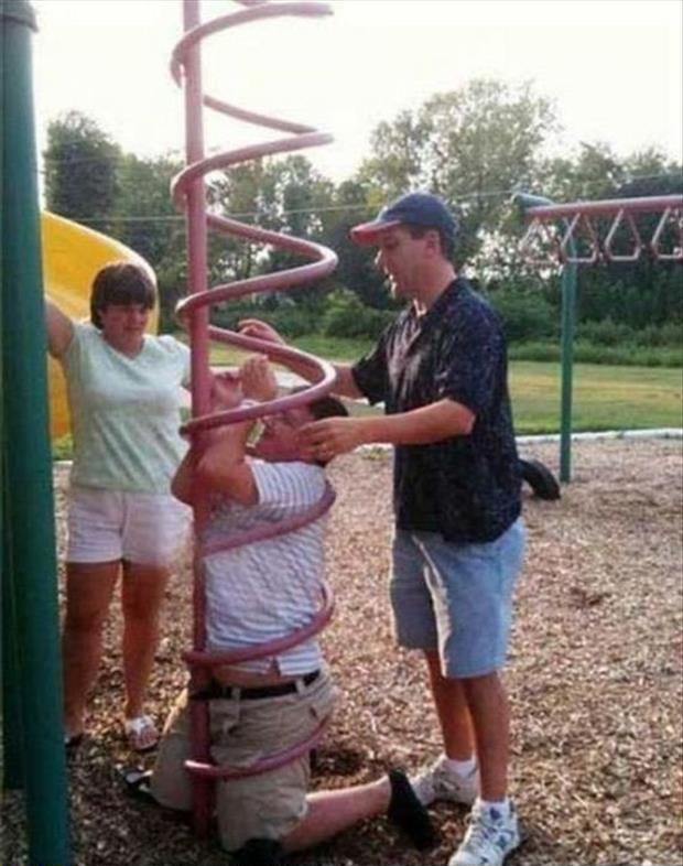stuck in playground equipment funny pictures