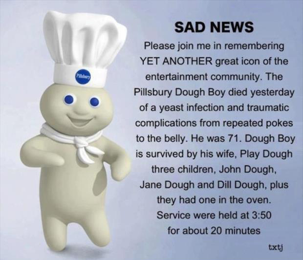 the pillsbury dough boy died