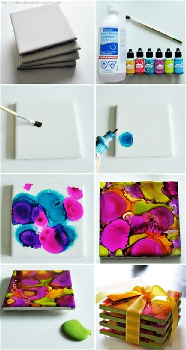 tile crafts painted cup coasters