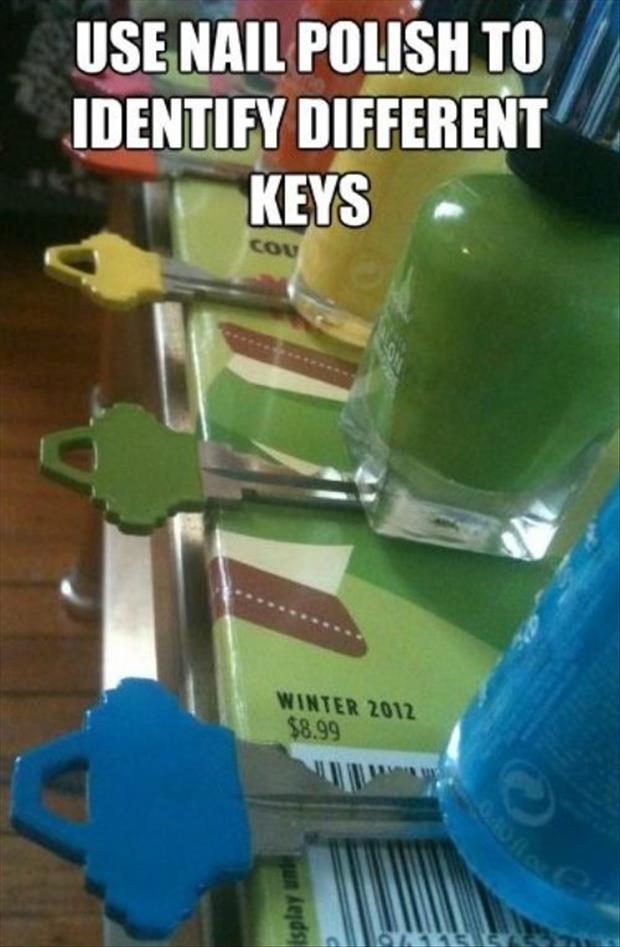 use nail polish to identify which key goes where