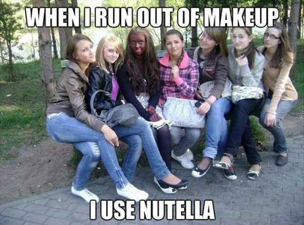 use nutella for make up, funny girls