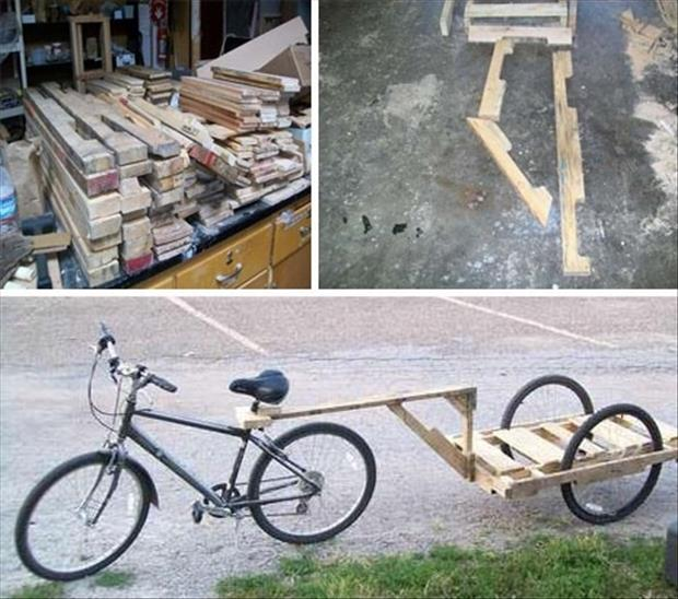 uses for old pallets, bike trailer