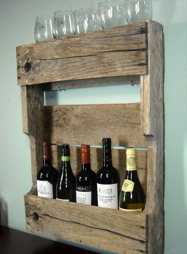 wooden wine rack from old pallets