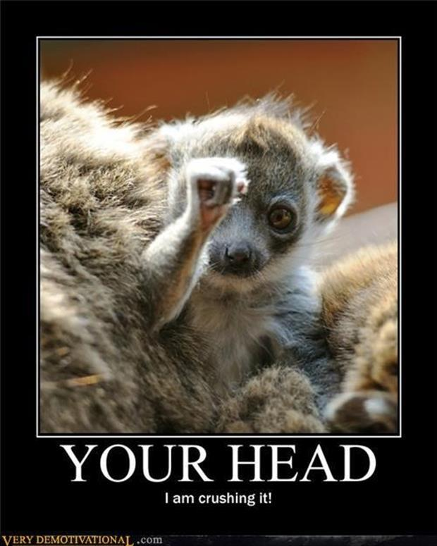 your head I'm squishing it demotivational posters