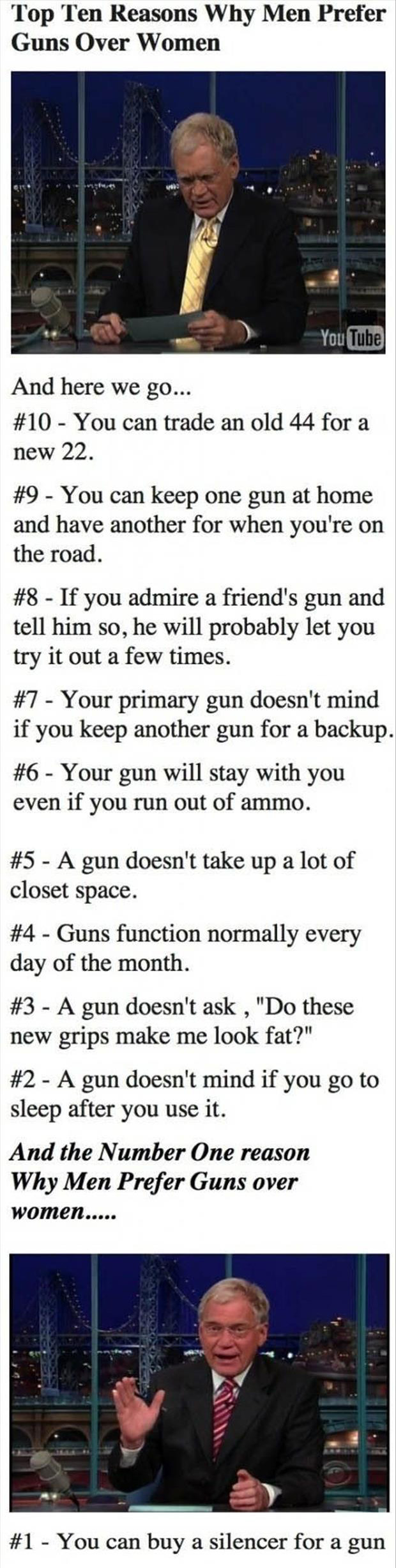 z top ten reasons men prefer guns over women david letterman show top ten lists