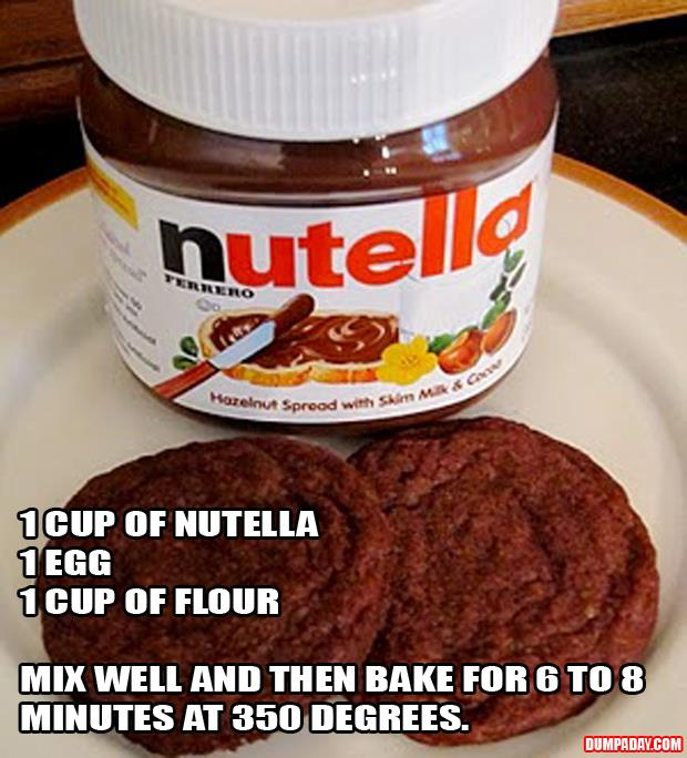 1 cup Nutella, 1 whole egg, 1 cup flour  bake for 6 to 8 min at 350 degrees
