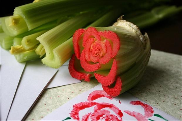 Celery Rose Stamping, craft ideas