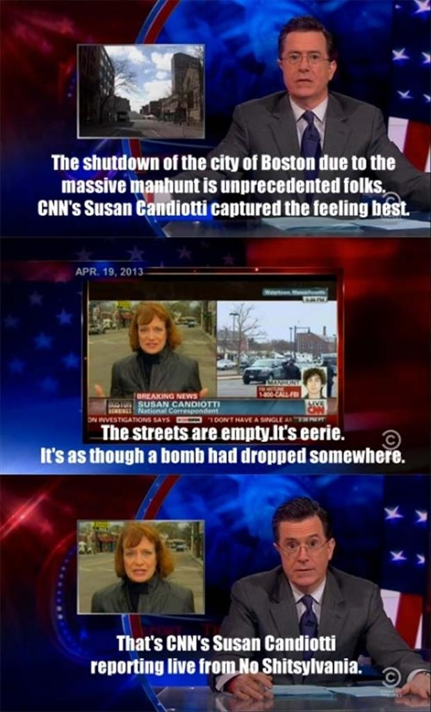Colbert report on Boston bombings