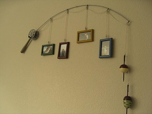 DIY Ideas- Fishing pole picture holder