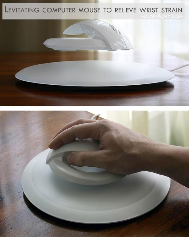 Geek Genius Ideas- Levitating computer mouse to relieve wrist strain