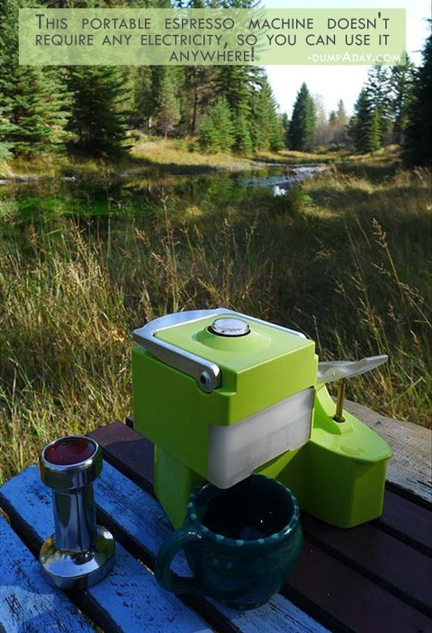 Geek Genius Ideas- This portable espresso machine doesn't require any electricity