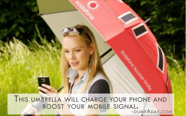 Geek Genius Ideas- This umbrella will charge your phone and boost your mobile signal