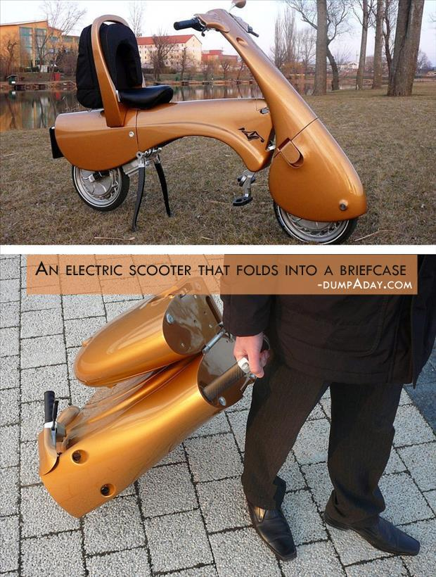 Geek Genius Ideas- electric scooter folds into a briefcase