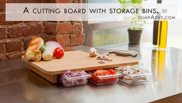 Genius Ideas- cutting board with storage bins
