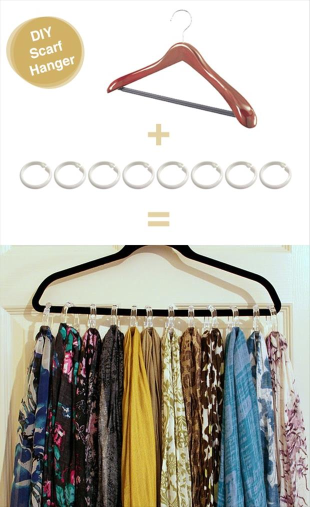 Genius Ideas- use shower curtain rings to hand multiple scarves on one hanger
