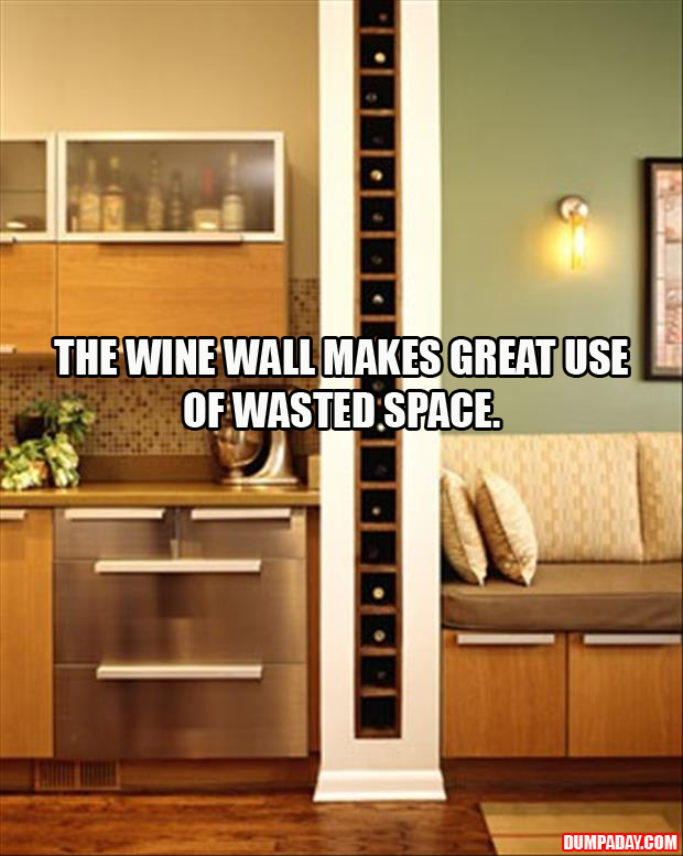 Wine wall, Great use of wasted space