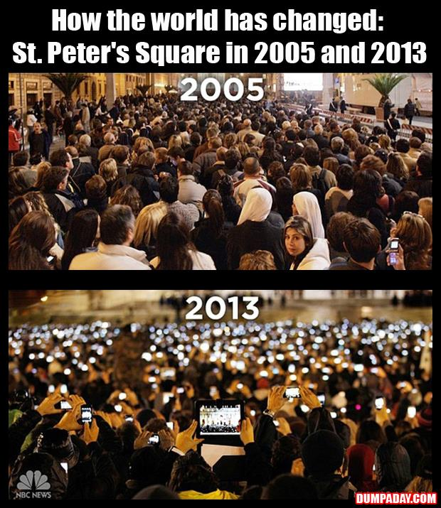 a How the world has changed St Peter's Square in 2005 and 2013