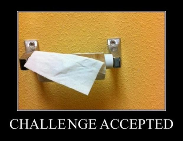 a challenge accepted, toilet paper