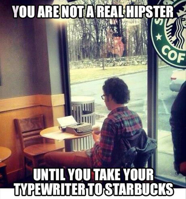 a hipster in starbucks