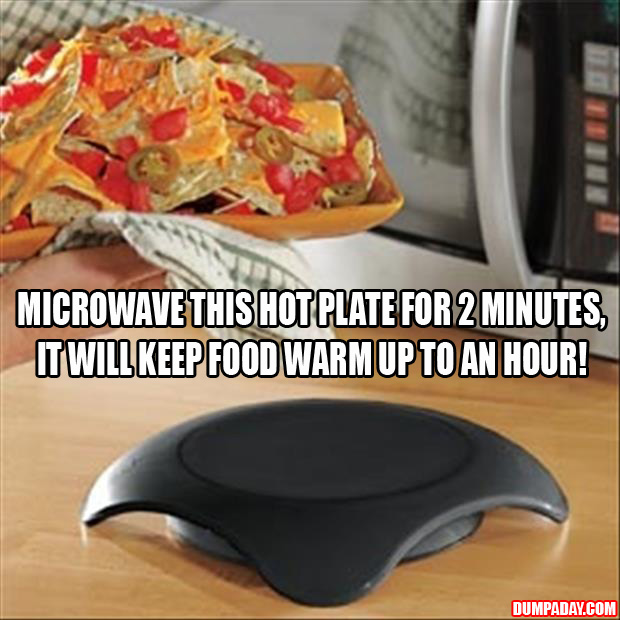 a microwave hot plate for 2 minutes, it keeps food at serving temperature for 1 hour