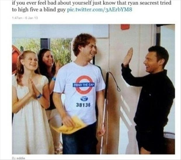a ryan seacrest high five a blind kid