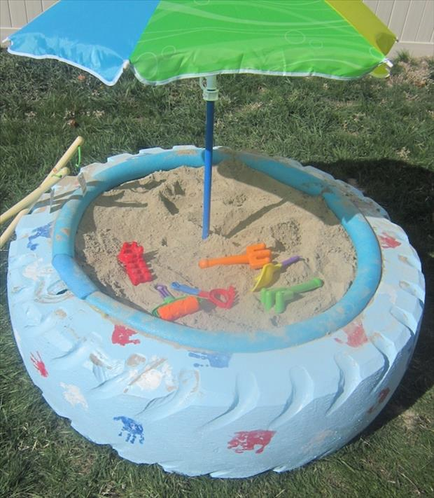 a turn an old tractor tire into a kid's sand box