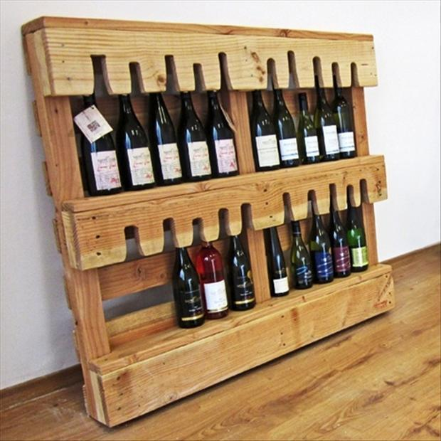 a wine bottle holder used pallet crafts