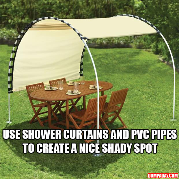 create your own shade using shower curtains and pvc pipes - Dump A Day