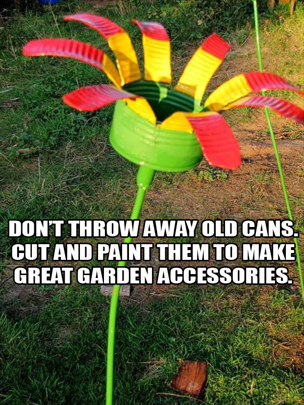 cut and paint an old tin can to make a great garden accessory