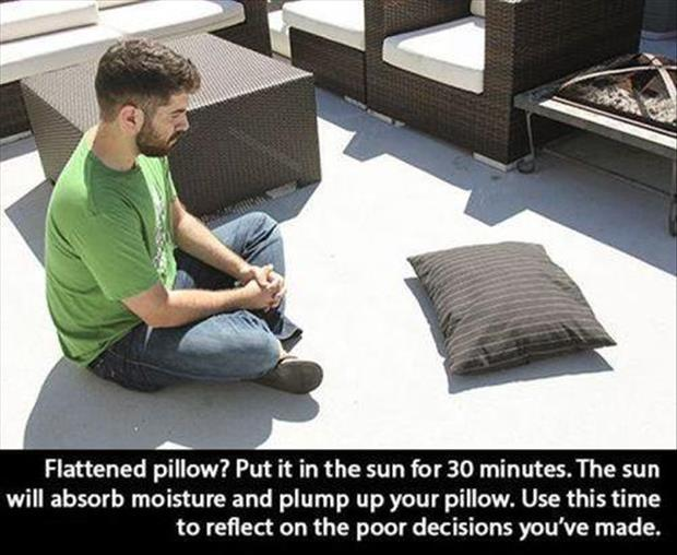 how to fluff up a flattened pillow