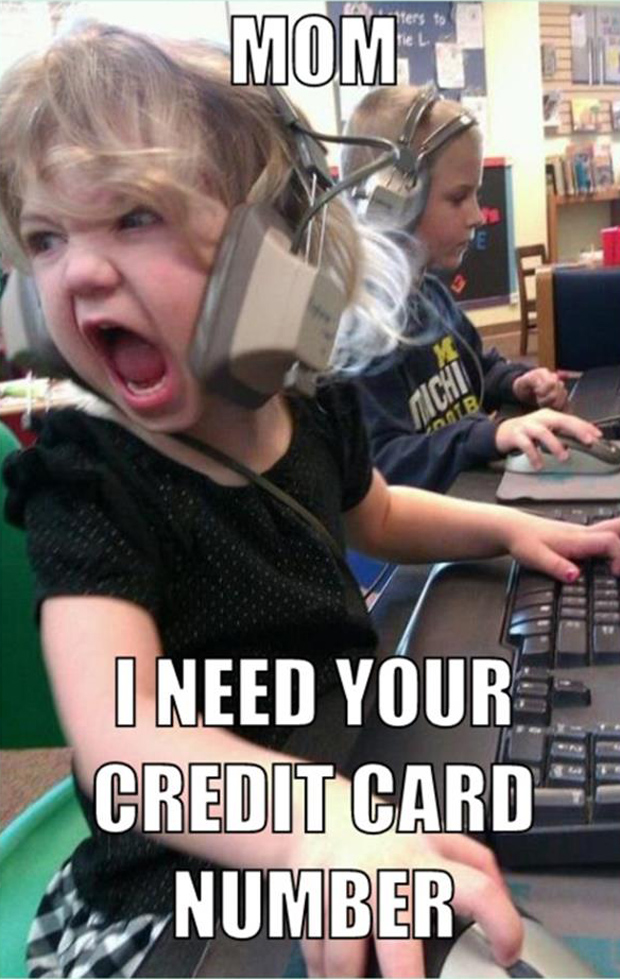 kid on computer needs your credit card number funny pictures