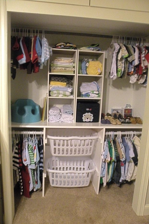 laundry baskets in the closet